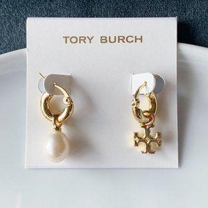 Tory Burch Signature Logo Pearl Ab Earrings